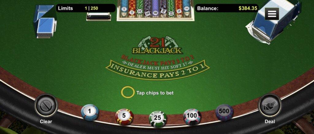 online blackjack table before cards are dealt